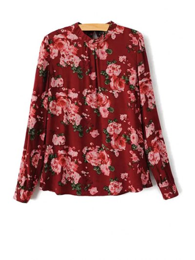 Stand Collar Long Sleeve Floral Print Shirt