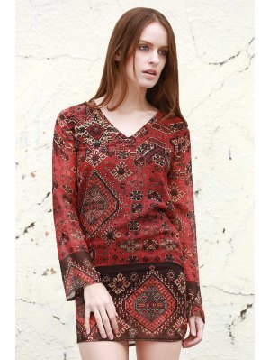 Long Sleeve Rivet Embellished Printed Dress - Red