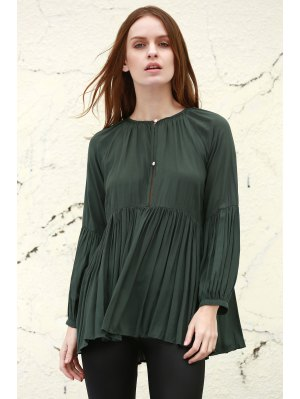Solid Color Loose Fitting Long Sleeves Blouse - Blackish Green