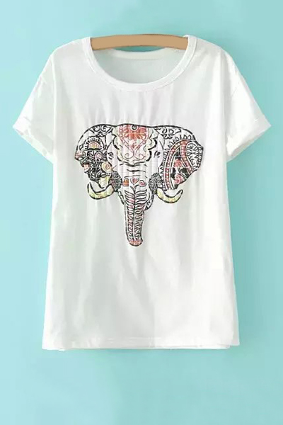 Round Neck Short Sleeve Elephant Print T-Shirt