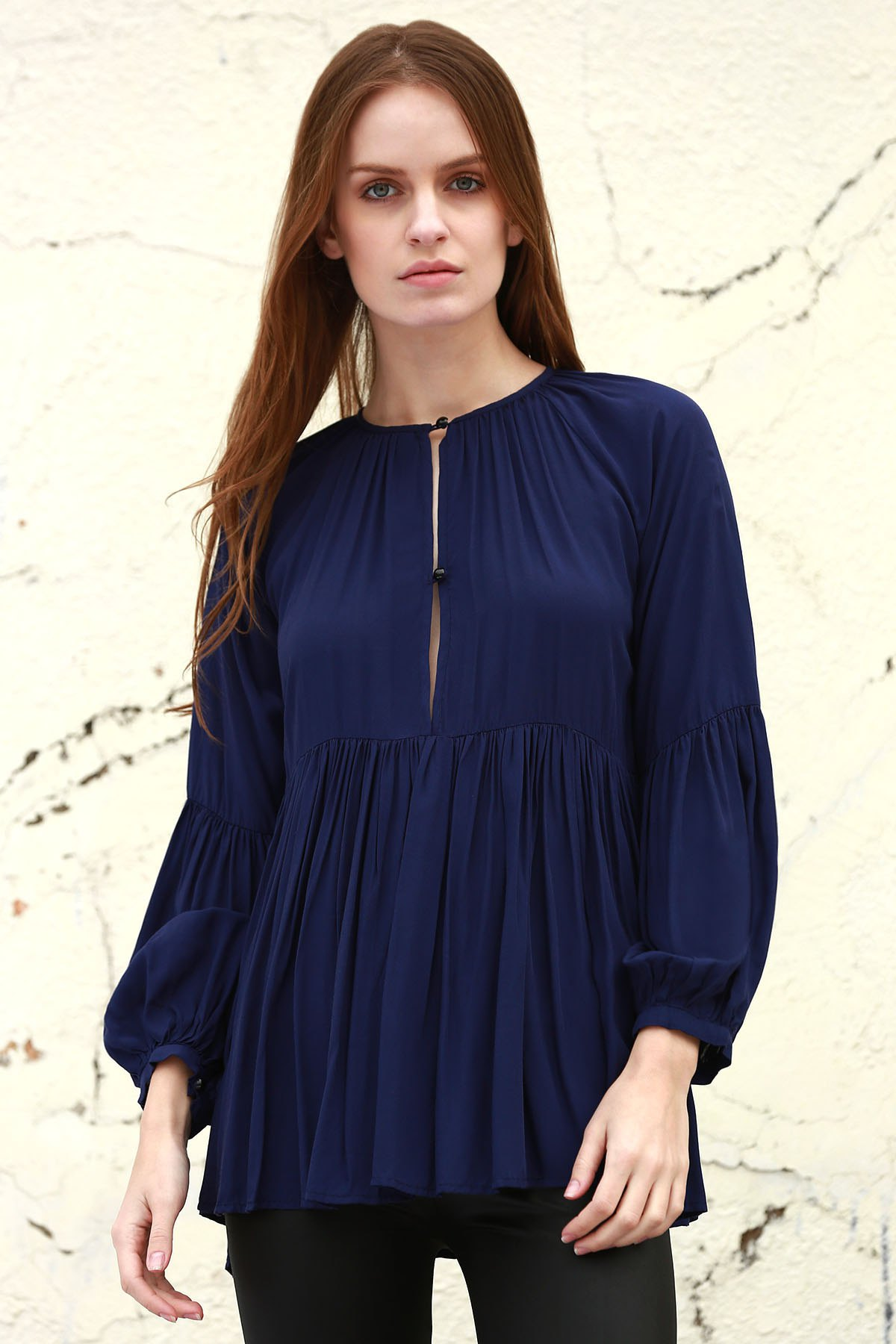 Solid Color Loose Fitting Long Sleeves Blouse - DEEP BLUE XS
