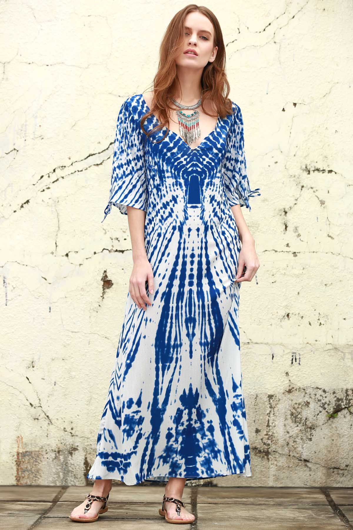 Blue Print Plunging Neck Maxi Dress - BLUE S
