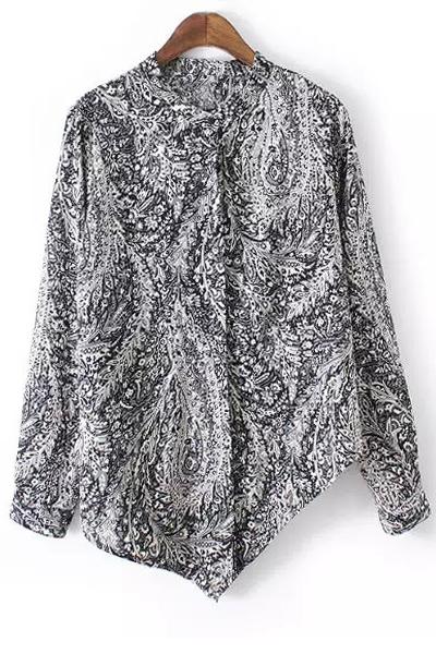 Irregular Hem Stand Collar Long Sleeve Printed Shirt 170017203