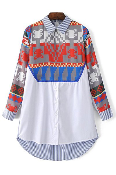 Shirt Collar Long Sleeve Printed Shirt