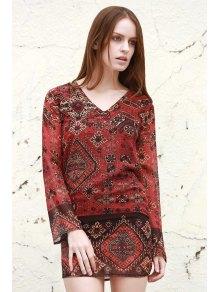 Long Sleeve Rivet Embellished Printed Dress
