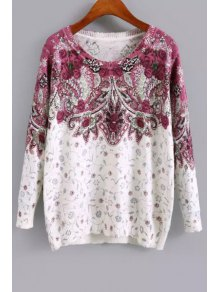 Long Sleeve Purple Floral Sweater