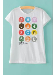 Colorful Letter Print Round Collar Short Sleeve T-Shirt