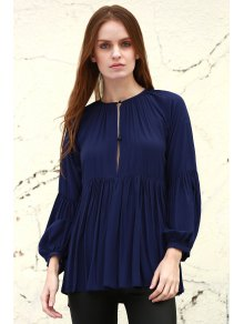 Solid Color Loose Fitting Long Sleeves Blouse - Deep Blue M