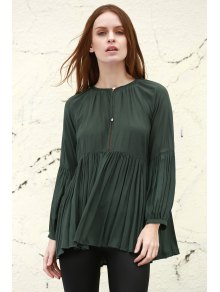 Solid Color Loose Fitting Long Sleeves Blouse - Blackish Green M