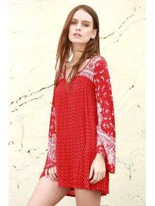Ethnic Print V Neck Long Sleeve Dress - RED XS