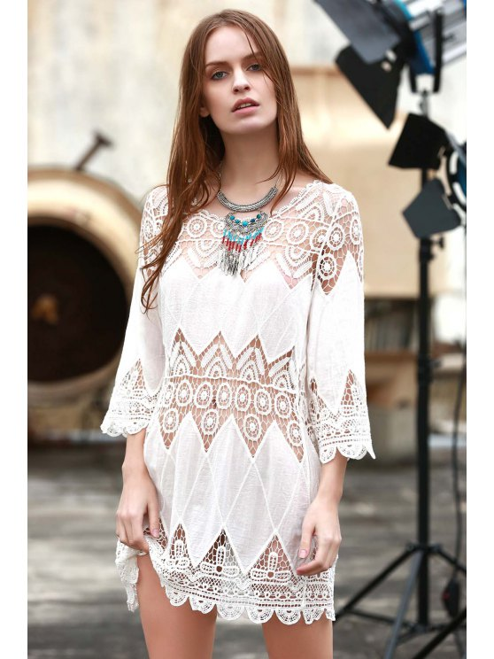 affordable Crochet Panel Beach Tunic Cover Up - WHITE ONE SIZE(FIT SIZE XS TO M)