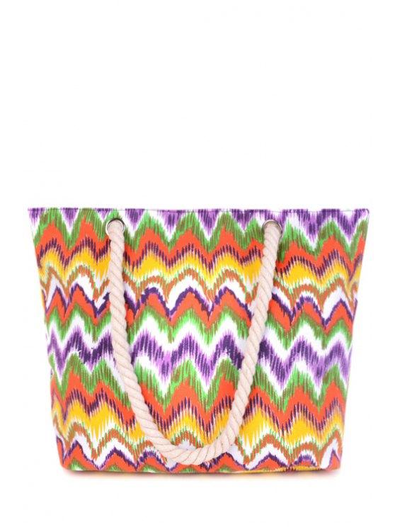 Wavy Stripe Color Block Toile Sac à bandoulière - Multicolore