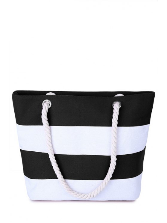 Color Block Stripe Canvas Sac à bandoulière - Blanc et Noir