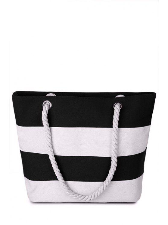 Color Block Stripe Canvas Sac à bandoulière - Blanc Cassé