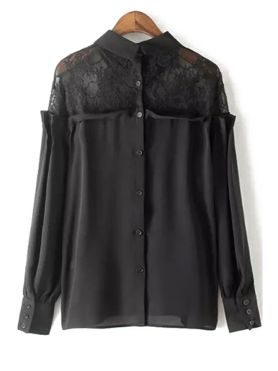 Lace Spliced Shirt Collar Long Sleeve Blouse - BLACK S Mobile