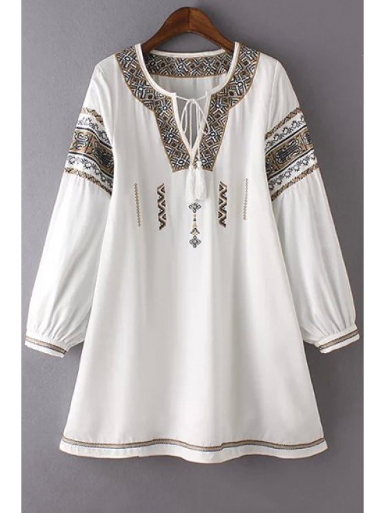 chic Retro Print Notched Neck Puff Sleeve Lace Up Dress - WHITE S