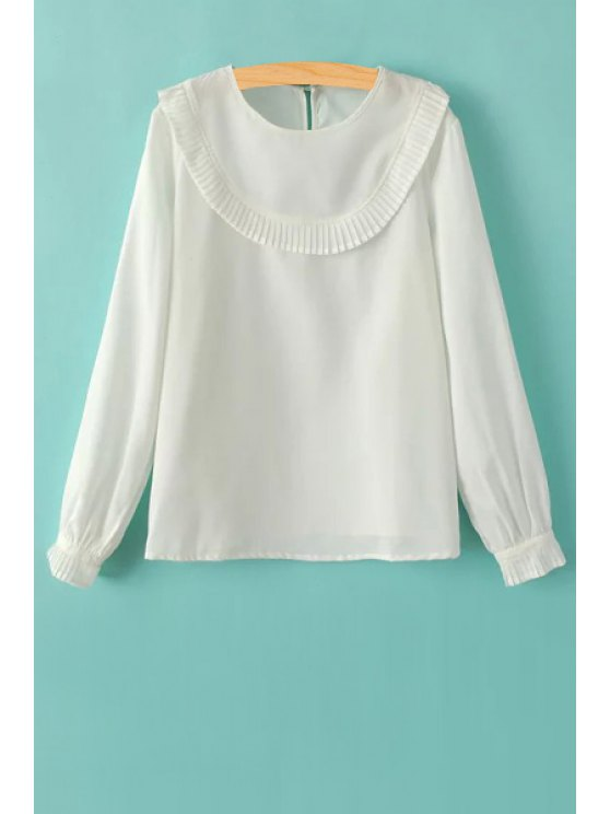 Manga larga volantes empalmado cuello redondo T-Shirt - Blanco S