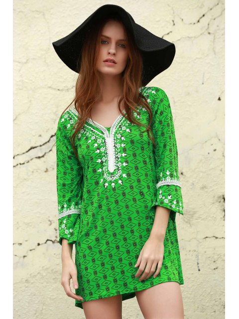affordable Printed Mini Tunic Dress - GREEN S Mobile
