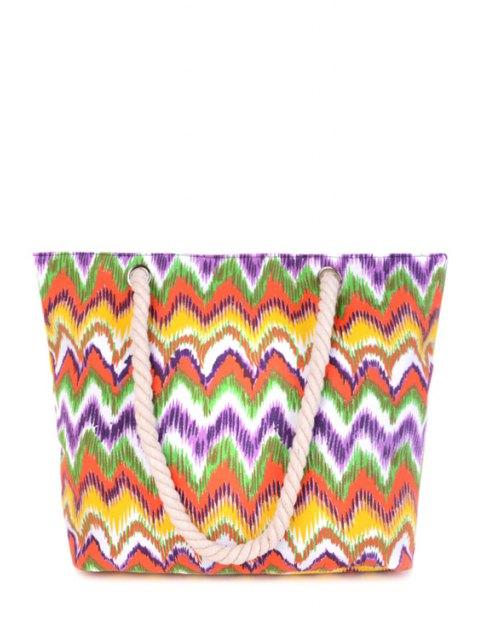 Wavy Stripe Color Block Toile Sac à bandoulière - Multicolore  Mobile