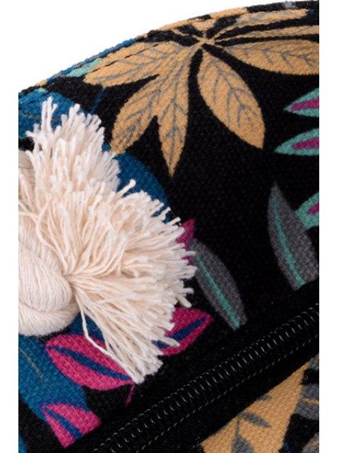 Toile Feuille Imprimer Color Block Sac à bandoulière - Noir  Mobile