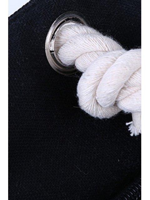 Color Block Stripe Canvas Sac à bandoulière - Blanc et Noir  Mobile