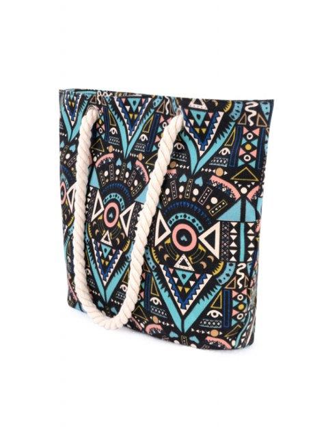 Imprimé tribal Rope épaule sac fourre-tout - Noir  Mobile