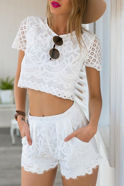 Round Neck Short Sleeve Guipure Lace Crop Top Pocket Design White Shorts Twinset