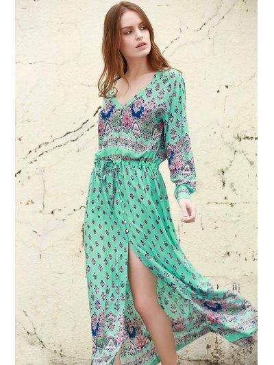 Printed Scoop Neck Bohemian High Slit Beach Dress - Blue