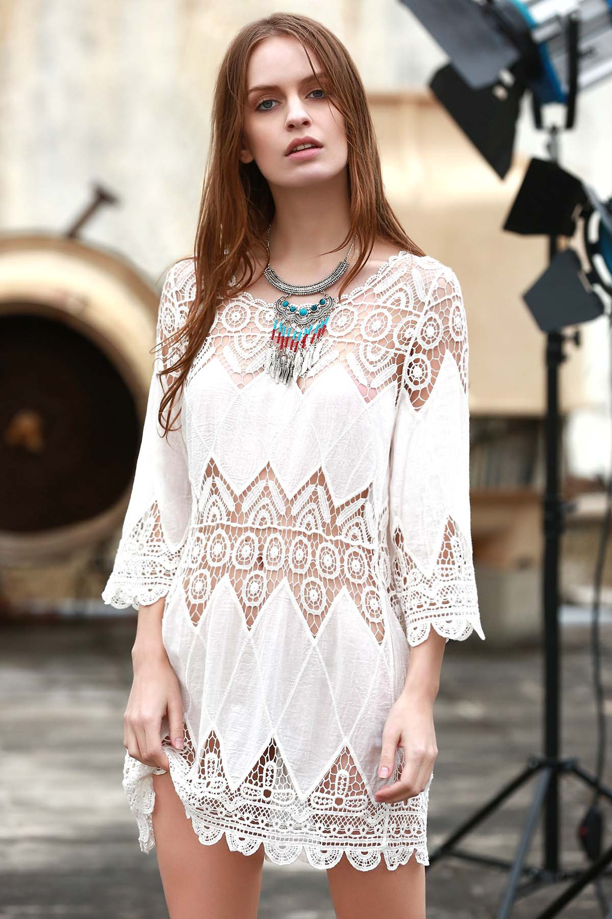 Openwork Appliqued White Cover-Up - WHITE ONE SIZE(FIT SIZE XS TO M)