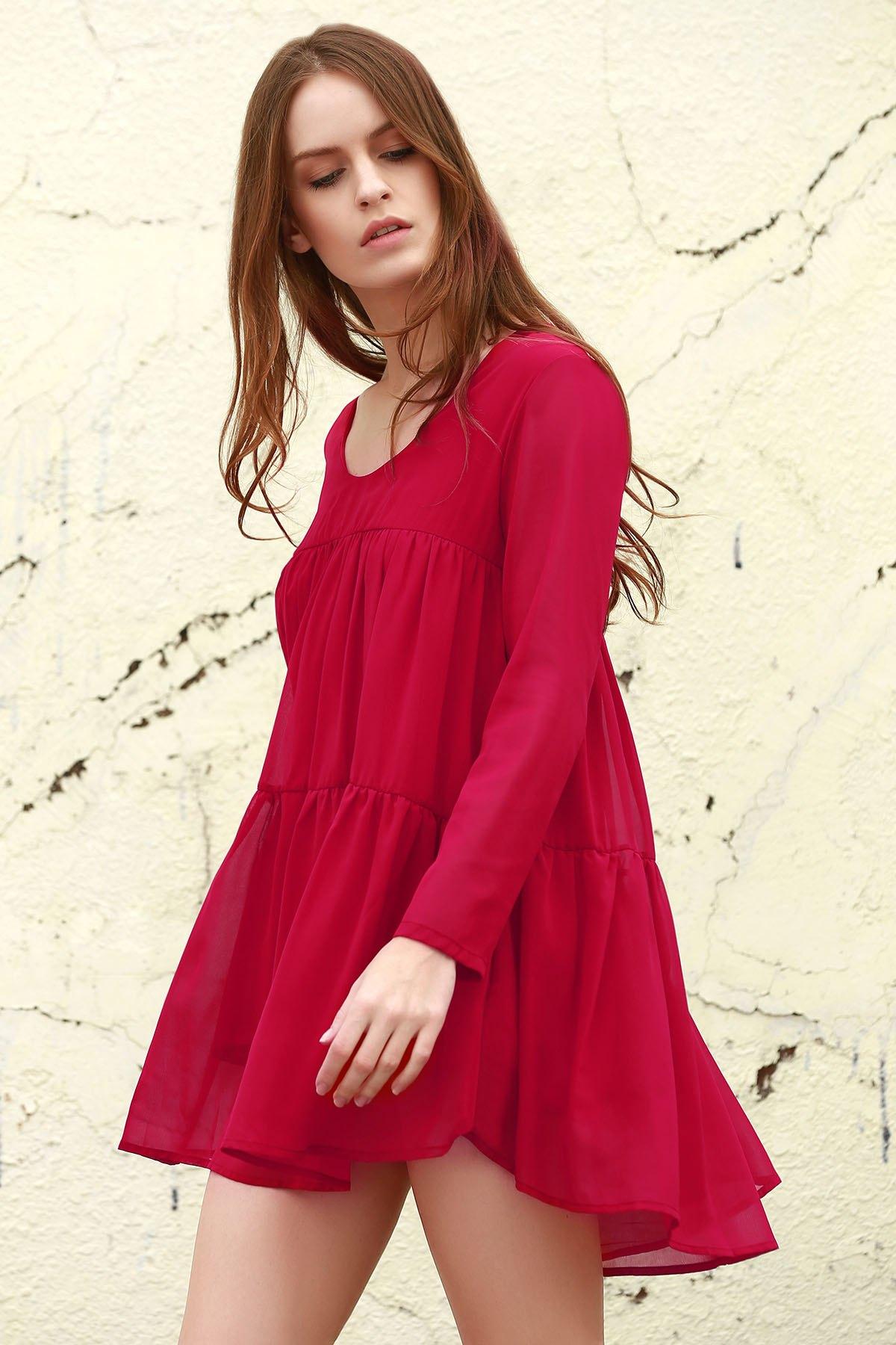Tiered Long Sleeve Smock Dress