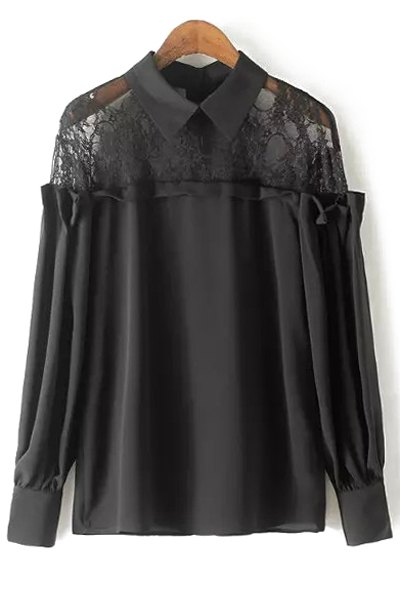 Shirt Collar Long Sleeve Lace Spliced Blouse