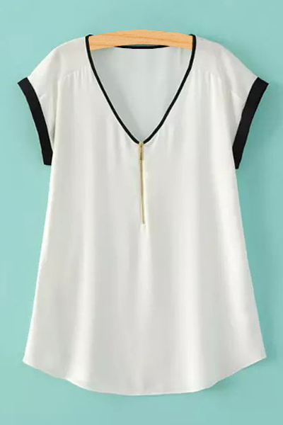 V-Neck Short Sleeve Zipper T-Shirt