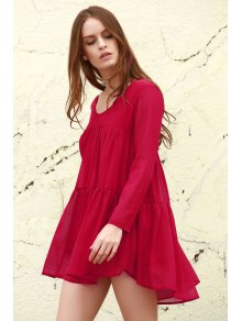 Long Sleeve Chiffon Smock Dress