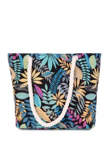 Canvas Leaf Print Color Block Shoulder Bag