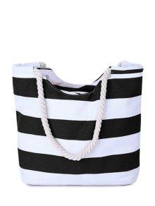 Stripes Color Block Canvas Shoulder Bag