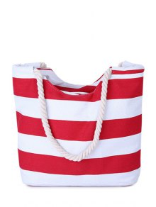 Stripes Color Block Canvas Shoulder Bag