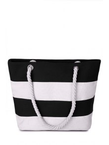 Stripe Color Block Canvas Shoulder Bag