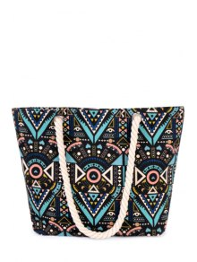 Tribal Print Rope Canvas Shoulder Bag