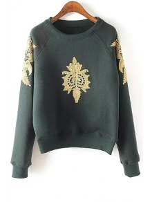Fil-Lumiere Patch Round Collar Long Sleeve Sweatshirt