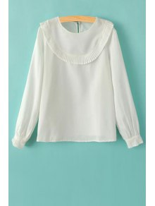 Ruffles Spliced Round Collar Long Sleeve T-Shirt