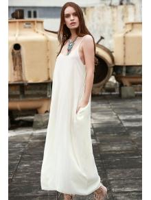 Spaghetti Strap Solid Color Sleeveless Maxi Dress