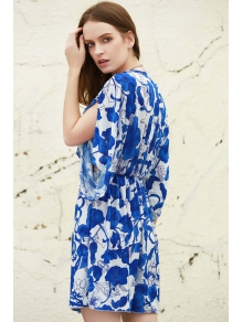 Blue and White Porcelain Print Loose Midi Dress - BLUE/WHITE ONE SIZE(FIT SIZE XS TO M)