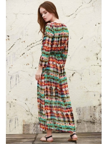 Print V Neck Long Sleeve Maxi Dress - RED/GREEN ONE SIZE(FIT SIZE XS TO M)