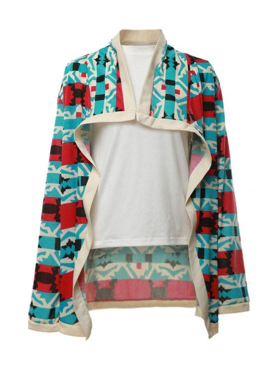 latest Geometrical Pattern Long Sleeve Cardigan - RED S