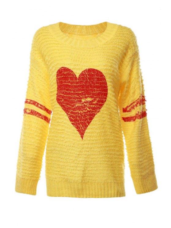 fancy Heart Pattern Long Sleeve Jumper - YELLOW ONE SIZE(FIT SIZE XS TO M)