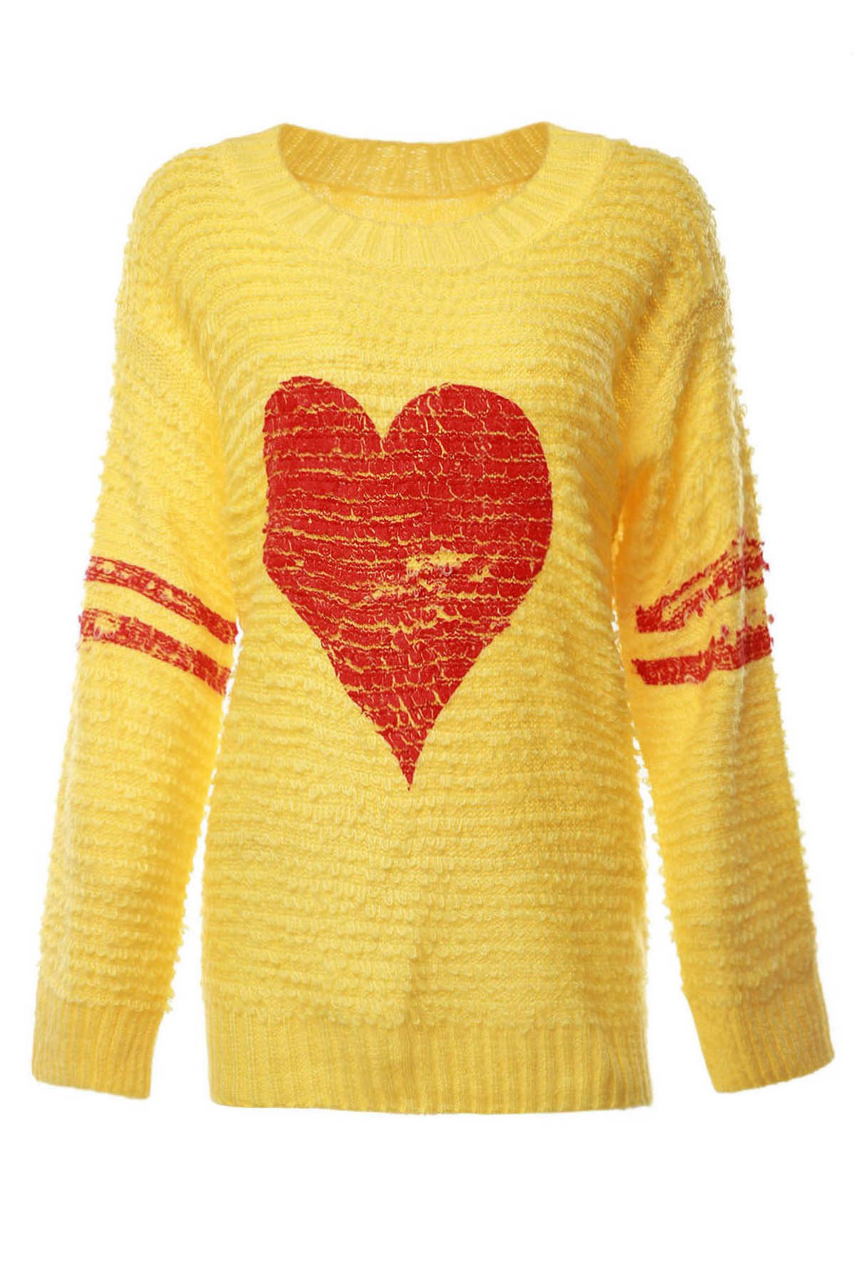 Heart Pattern Long Sleeve Jumper - YELLOW ONE SIZE(FIT SIZE XS TO M)