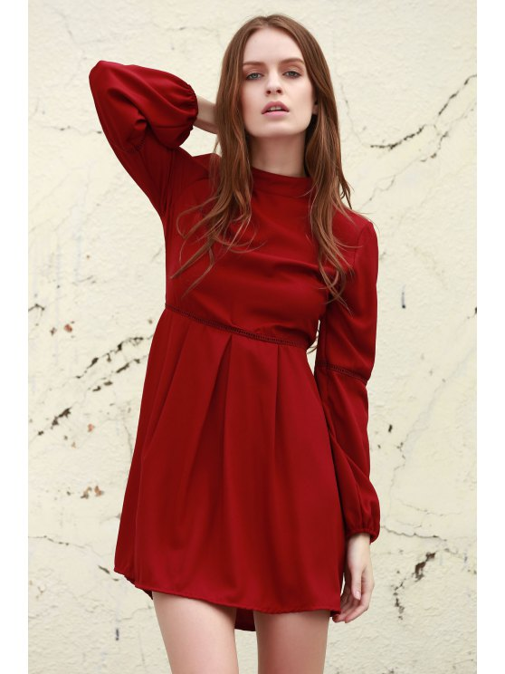 online Long Sleeve Dress With Ladder Detail - DEEP RED S