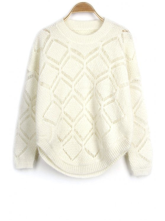 Solid Color Cut Out Round Neck Long Sleeve Sweater - OFF-WHITE ONE SIZE(FIT SIZE XS TO M) Mobile