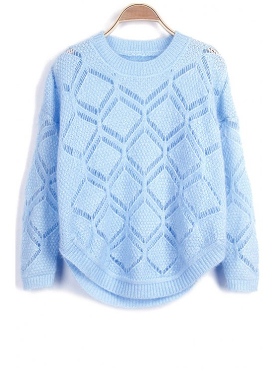 womens Solid Color Cut Out Round Neck Long Sleeve Sweater - BLUE ONE SIZE(FIT SIZE XS TO M)