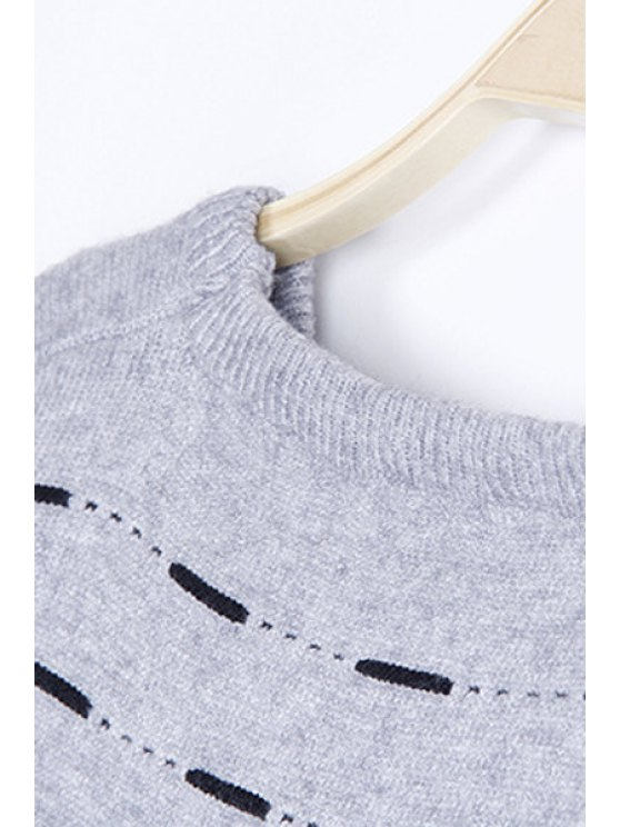 Solid Color High-Low Round Neck Long Sleeve Sweater - WHITE ONE SIZE(FIT SIZE XS TO M) Mobile